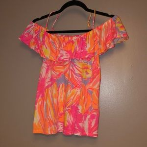 Lily Pulitzer Neon Off the Shoulder Tank Top